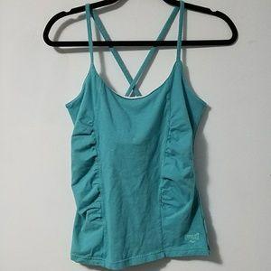 Sporty Everlast aqua blue crossback workout top, L